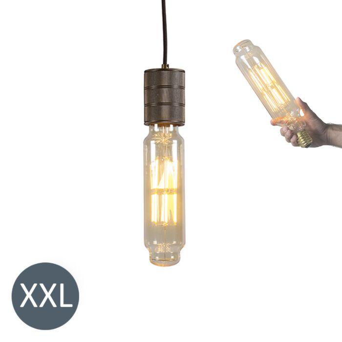 Lampada-a-sospensione-TOWER-bronzo-con-lampadina-LED-regolabile
