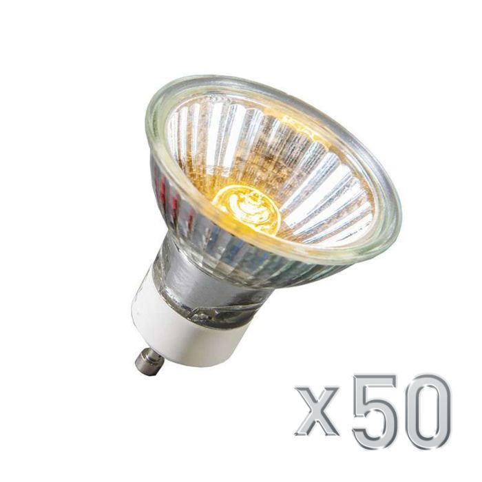 Confezione-50-lampadina-alogena-GU10-40W-230V-350LM