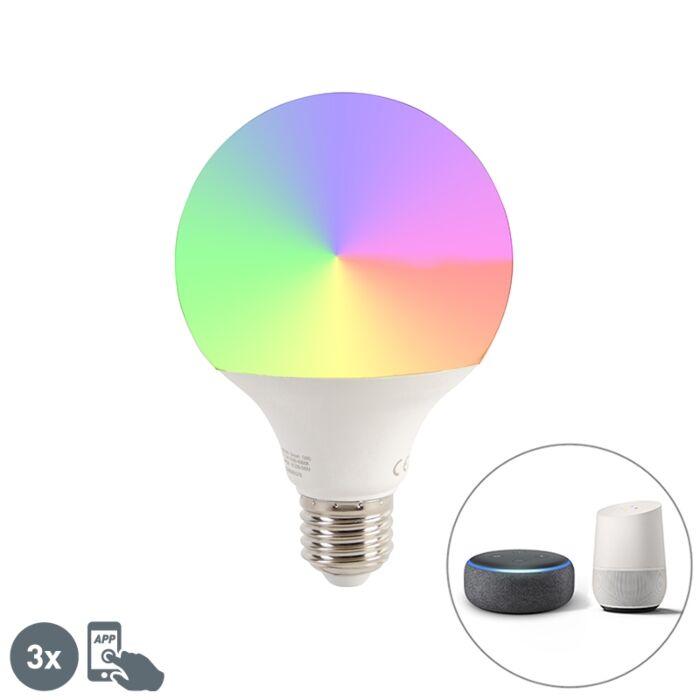 Smart-set-di-3-lampadine-LED-E27-G95-1050lm-2200-4000K-dimm
