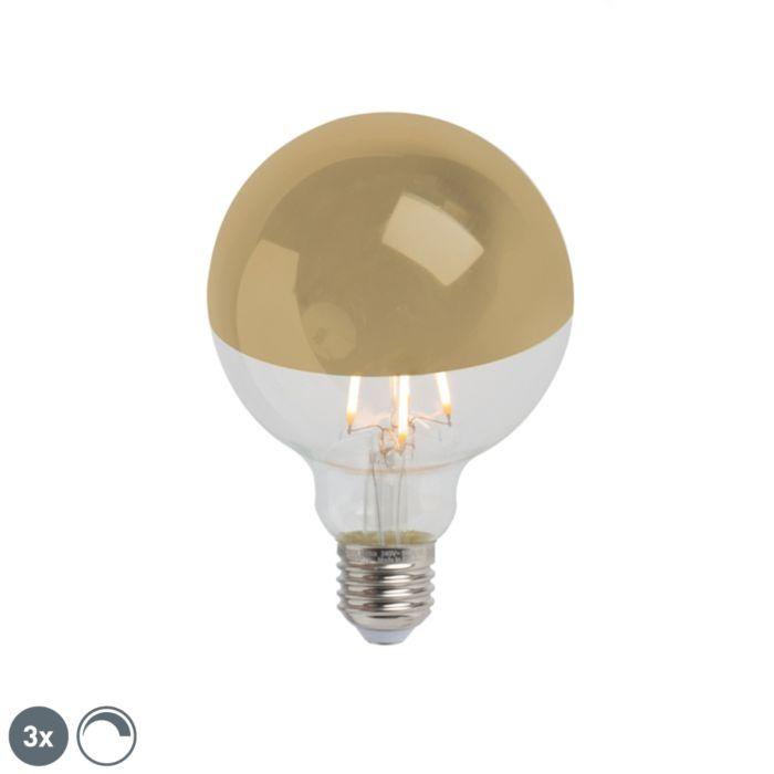 Set-3-lampadine-LED-E27-G95-280lm-2300K-specchio-oro-dimm