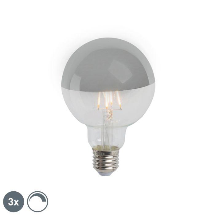 Set-3-lampadine-LED-E27-280lm-2300K-argento-globo-dimm