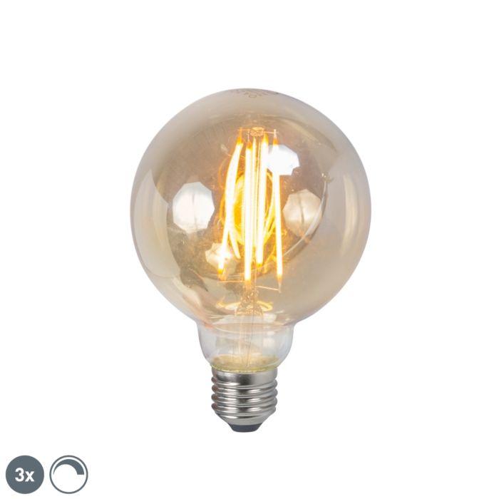 Set-di-3-lampadine-a-LED-a-filamento-E27-5W-2200K-G95-affumicata-regolabile
