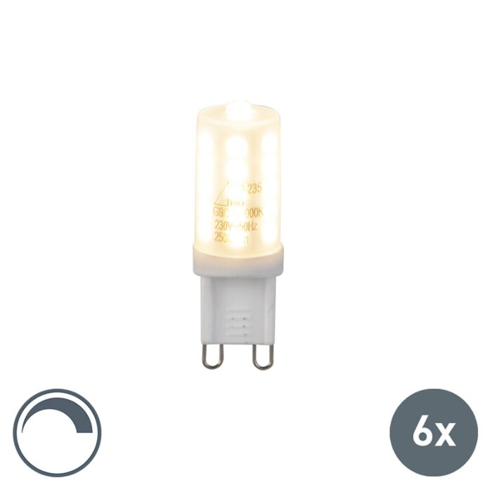 Set-di-6-lampadine-G9-a-LED-3W-250LM-bianco-caldo-dimmerabile