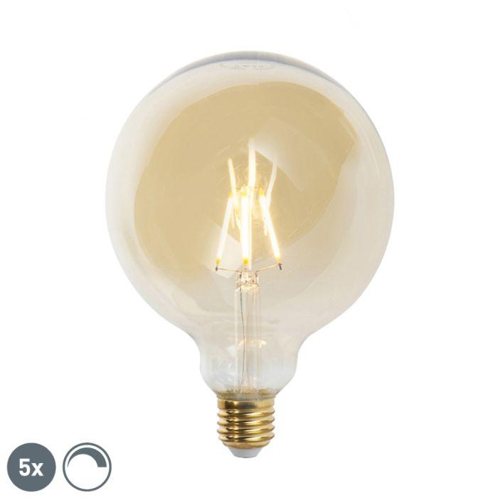 Set-di-5-lampade-a-filamento-LED-dimmerabili-E27-G125-goldline-2200K
