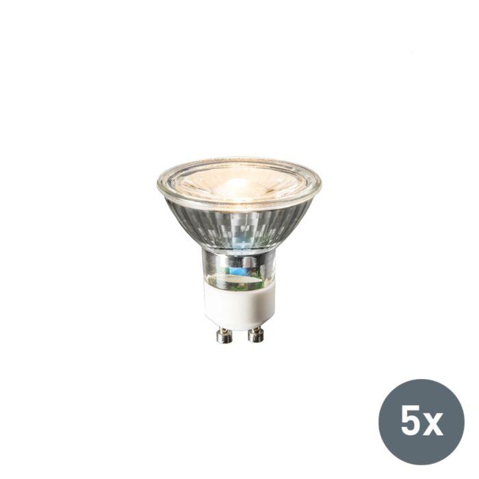 Set-di-5-lampadine-GU10-a-LED-3W-230LM-bianco-caldo