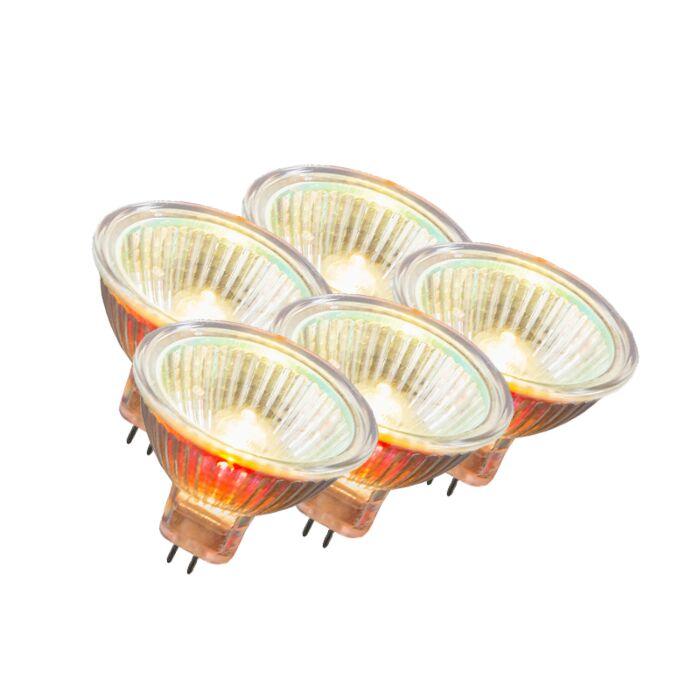 Set-di-5-lampadine-GU5.3-alogene-10W-55LM-bianco-caldo-regolabile