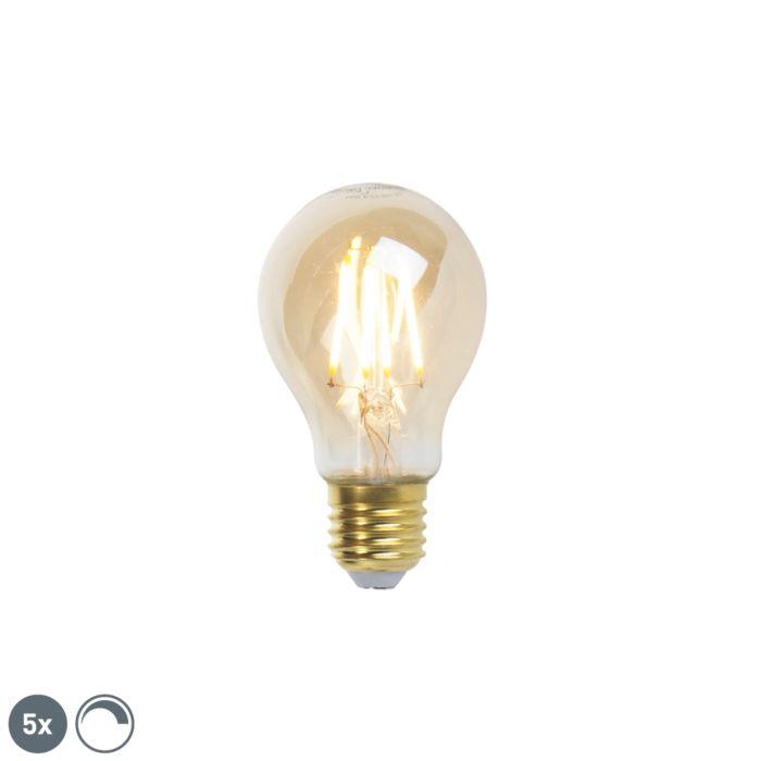 Set-di-5-lampade-a-filamento-LED-dimmerabili-E27-goldline-360lm-2200K