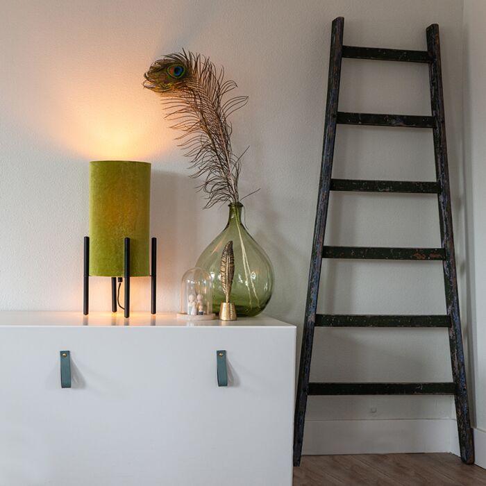 Lampada-da-tavolo-design-nero-paralume-velluto-verde-oro---RICH