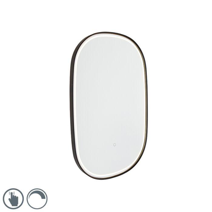 Specchio-da-bagno-nero-ovale-LED-dimmer-touch---MIRAL