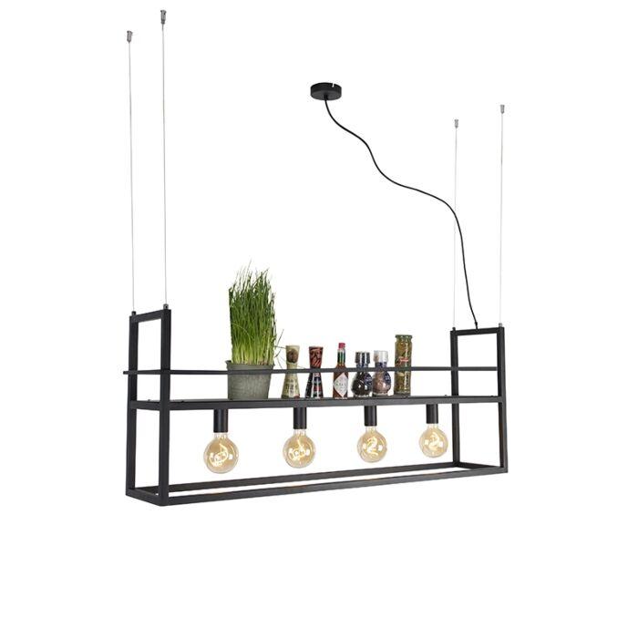 Lampada-a-sospensione-industriale-nera-grande-mensola-4---luci---CAGE-Rack