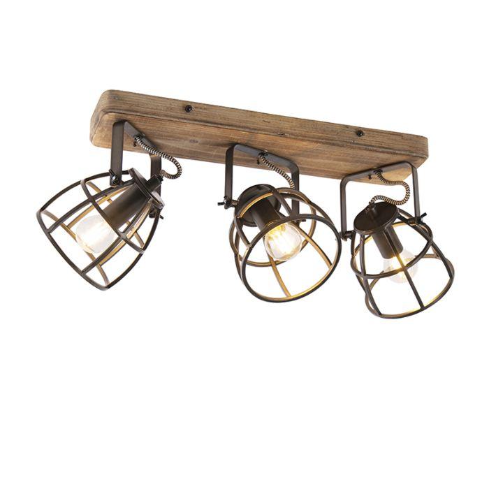 Plafoniera-nera-legno-orientabile-3-luci---ARTHUR