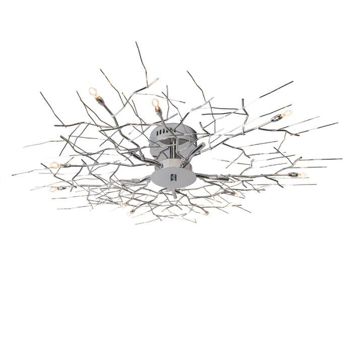 Plafoniera-grande-'Forest-10'-moderna-cromo---adatta-per-LED-/-interna