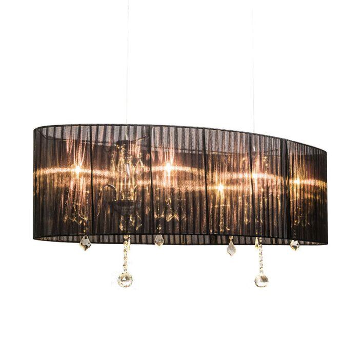 Lampadario-con-paralume-'Ann-Kathrin-100'-classico-nero/tessuto---adatto-per-LED-/-interno