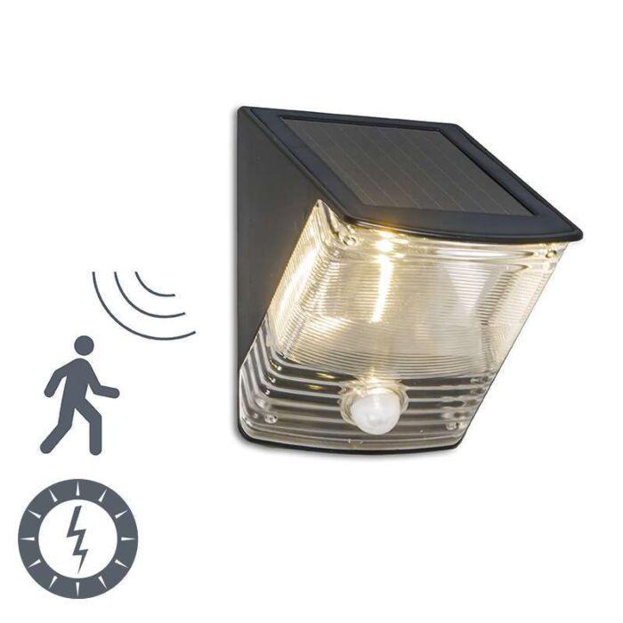Applique-con-sensore-e-panello-solare-'Dark-2'-moderno-nero/plastica---include-LED-/-esterno