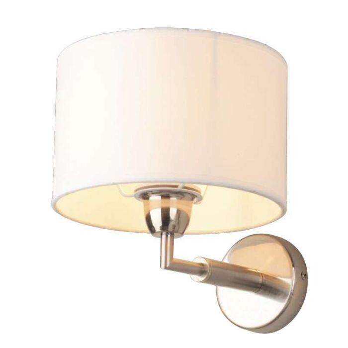 Applique-con-paralume-'Lugar'-moderno-blanco/tessuto---adatto-per-LED-/-interno
