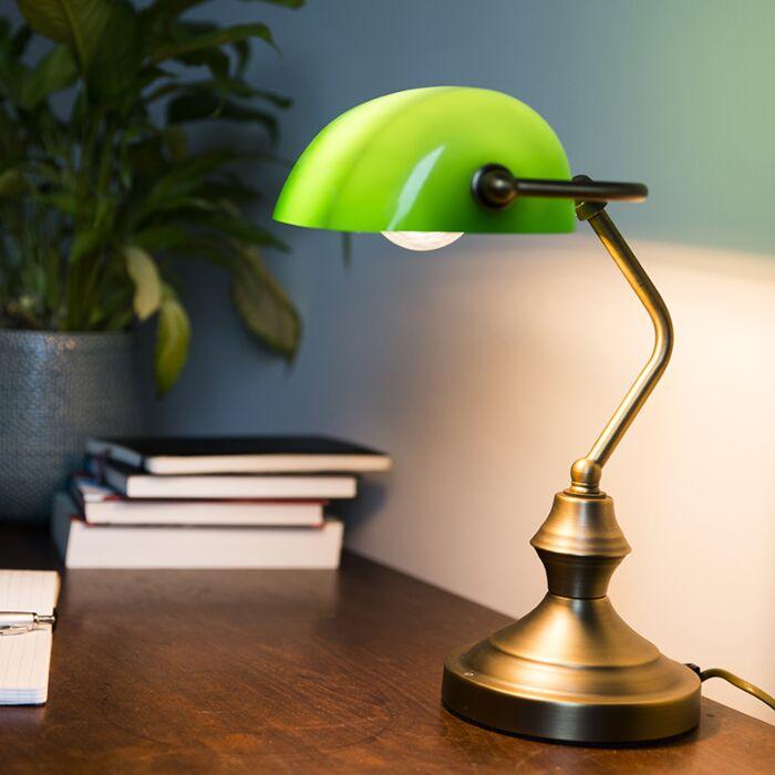 Lampada-notarile-classica-in-bronzo-verde--BANKER