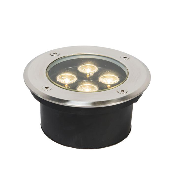 Faretto-da-incasso-da-terra-'Basic-R-Power-4-x-1W'-moderno-acciaio-inossidabile---include-LED-/-esterno