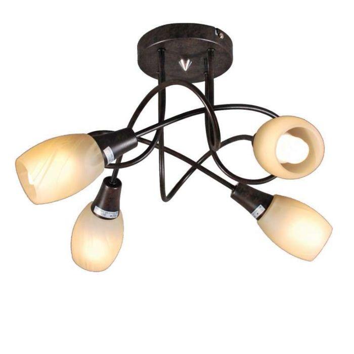 Plafoniera-'Andrea-4'-classico-marrone-ossido/metallo---adatta-per-LED-/-interna
