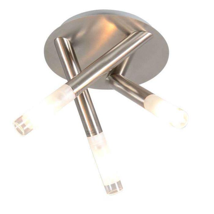 Plafoniera-'Pipy-3'-moderna-acciaio---adatta-per-LED-/-interna,-bagno