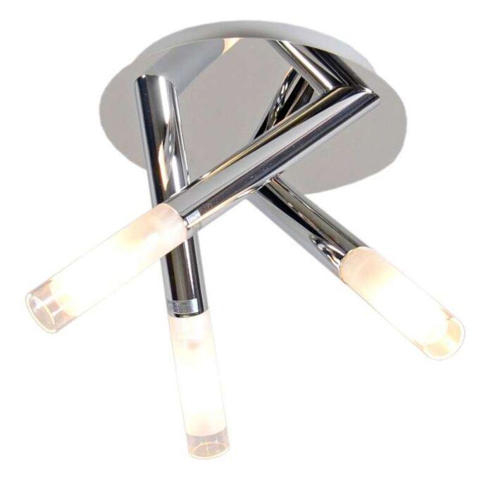 Plafoniera-'Pipy-3'-moderna-cromo---adatta-per-LED-/-interna,-bagno