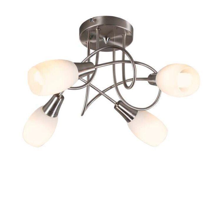 Plafoniera-'Andrea-4'-moderna-acciaio---adatta-per-LED-/-interna
