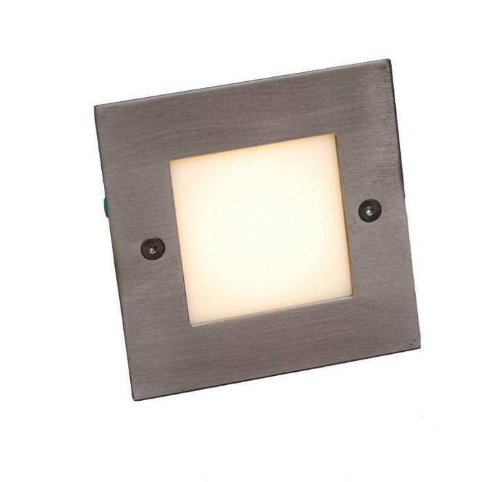 Faretto-da-incasso-'LEDlite-Square-10-WW'-moderno-acciaio-inossidabile---include-LED-/-esterno,-interno,-bagno