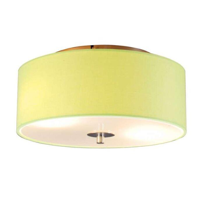 Plafoniera-con-paralume-'Drum-30-R'-moderna-verde/tessuto---adatta-per-LED-/-interna