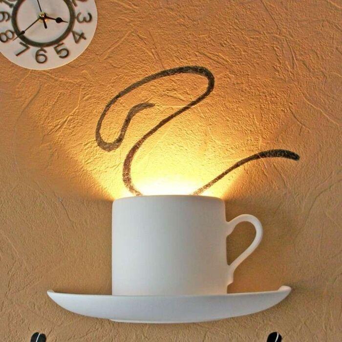Applique-'Gipsy-Coffee'-moderno-blanco/intonaco---adatto-per-LED-/-interno