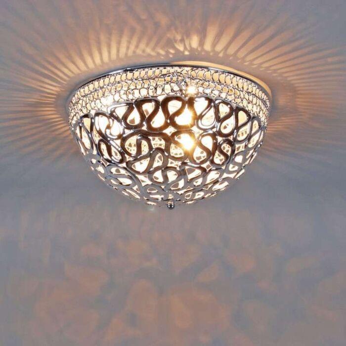Plafoniera-'Pharaoh-40'-moderna-cromo/plastica---adatta-per-LED-/-interna