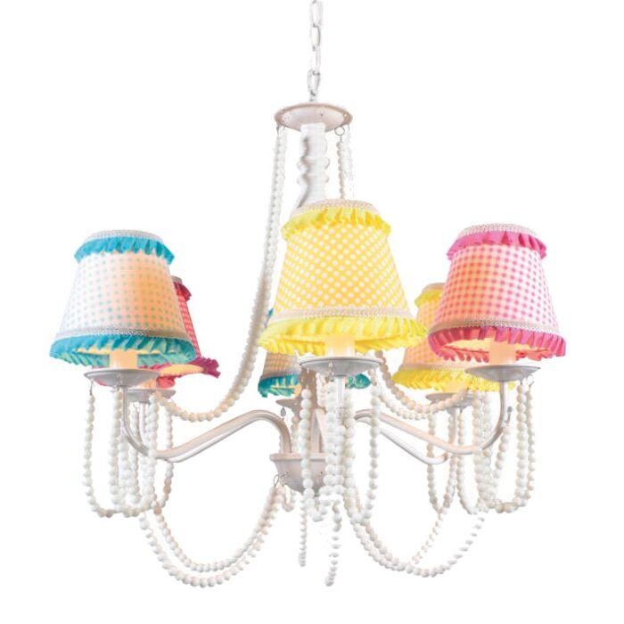 Lampadario-'Twiddle-6'-classico-multicolore/tessuto---adatto-per-LED-/-interno