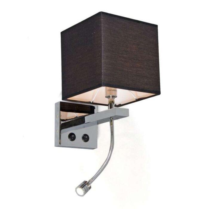 Applique-con-paralume-'Brescia'-moderno-nero/tessuto---adatto-per-LED-/-interno