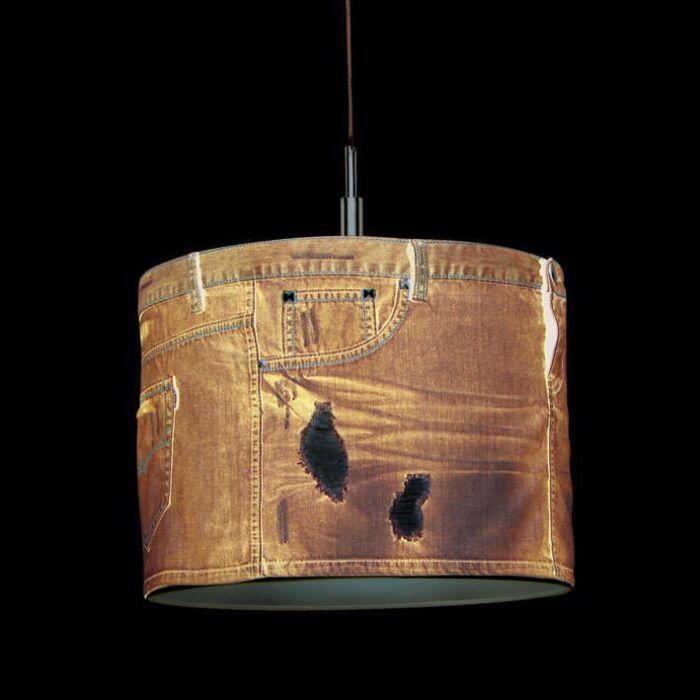 Lampada-a-sospensione-'Lugar-40'-moderna-blu/tessuto---adatta-per-LED-/-interna