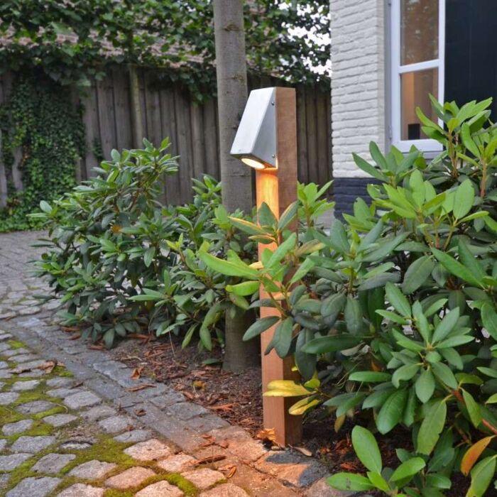 Palo-da-terrazza-'Plaza-70'-rustico-caffè/legno---adatto-per-LED-/-esterno