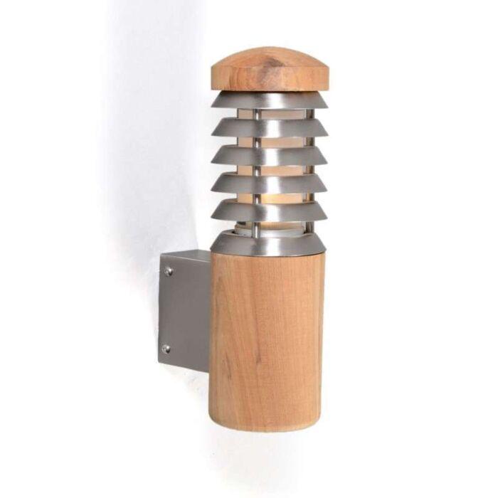 Applique-'Pole'-rustico-caffè/legno---adatto-per-LED-/-esterno