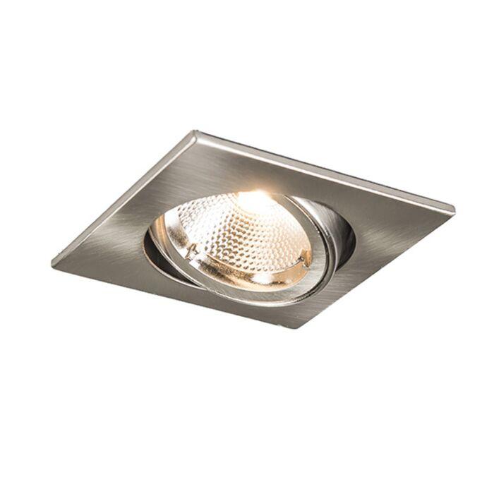 Faretto-da-incasso-'Safe-Q-6W'-moderno-acciaio---include-LED-/-interno