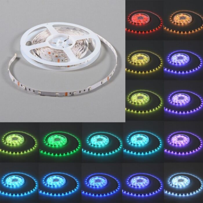 Illuminazione-flessibile-a-LED-RGB-'IP20-5m'-moderna-multicolore/plastica-include-LED