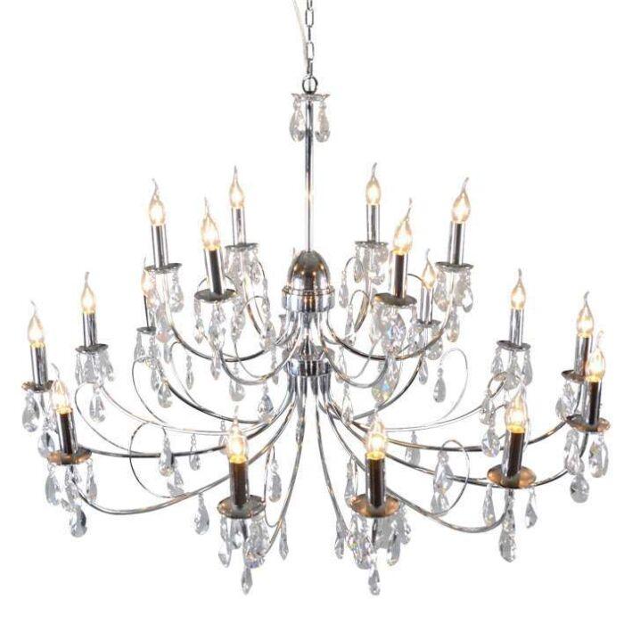Lampadario-grande-'Lecler-12'-classico-cromo/cristallo---adatto-per-LED-/-interno
