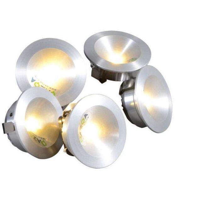 Faretto-da-incasso-'Niek-5-x-1W'-moderno-alluminio---include-LED-/-interno,-bagno