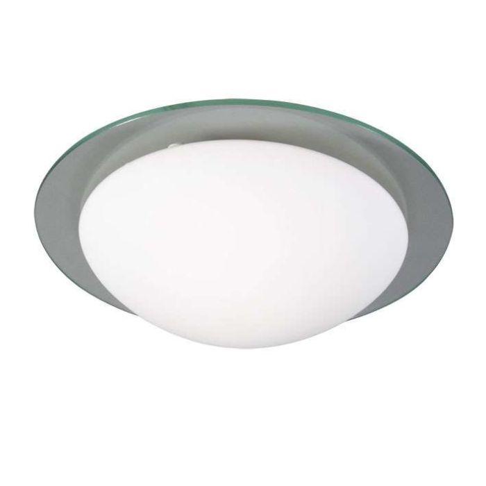 Plafoniera-'Menta-30'-moderna-blanca/vetro---adatta-per-LED-/-interna,-bagno