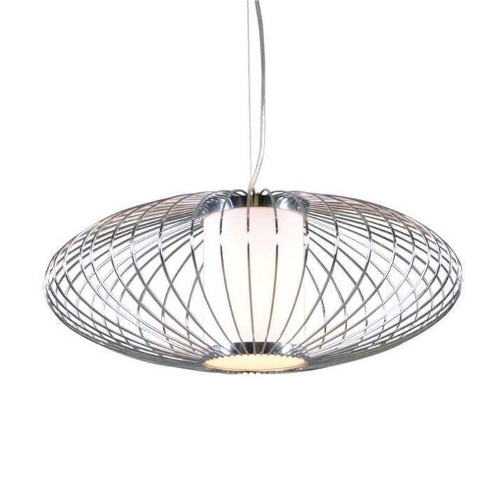 Lampada-a-sospensione-grande-'Wire-Pumkin-50'-design-cromo---adatta-per-LED-/-interna