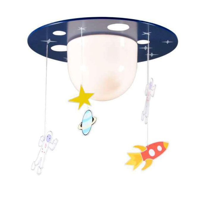 Plafoniera-'Space'-infantile-multicolore/plastica---adatta-per-LED-/-interna