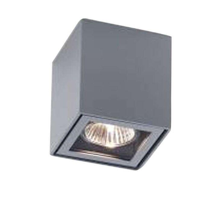 Faretto-'Boxy'-design-grigio/metallo---adatto-per-LED-/-esterno,-interno,-bagno