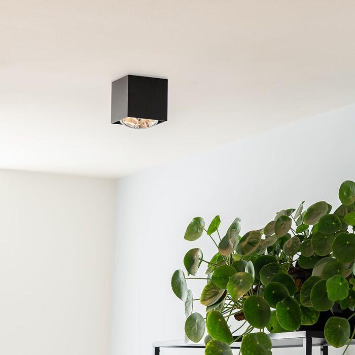 Faretto-quadrato-nero-incl.-lampadina---BOX-
