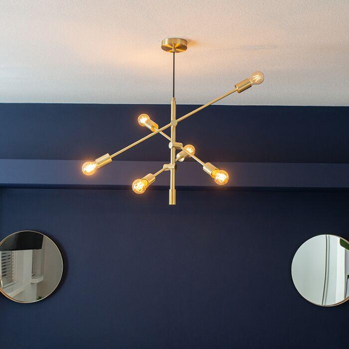 Lampada-a-sospensione-Art-Déco-a-6-luci-in-ottone-opaco---SYDNEY