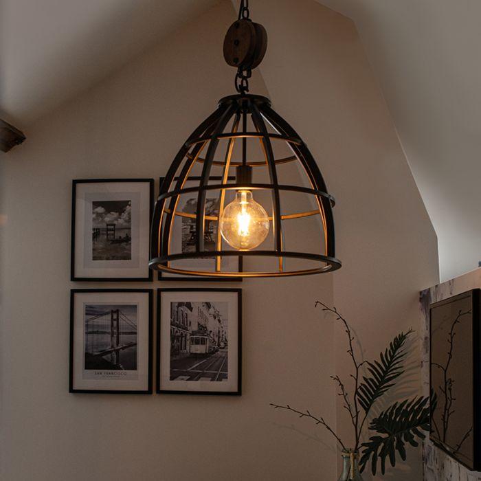 Lampada-a-sospensione-rotonda-acciaio-nero-48-cm---ARTHUR