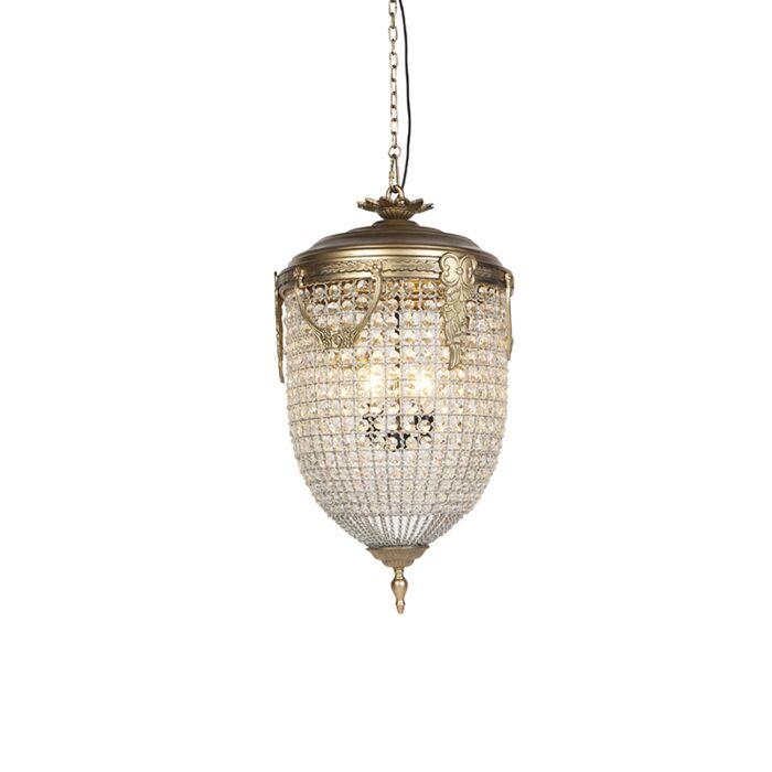 Lampada-a-sospensione-Art-Déco-cristallo-dorato-45cm---CESAR-