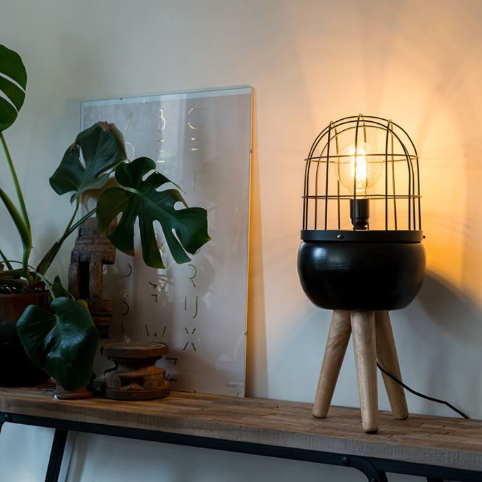 Lampada-da-tavolo-moderna-nera-treppiede-legno-BIRDS