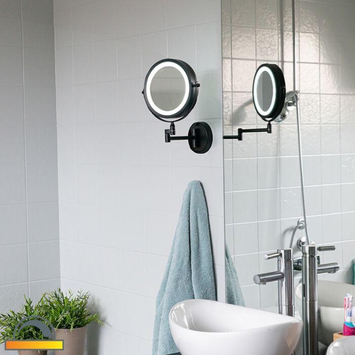 Specchio-bagno-design-nero-LED-orientabile-IP44---VICINO-