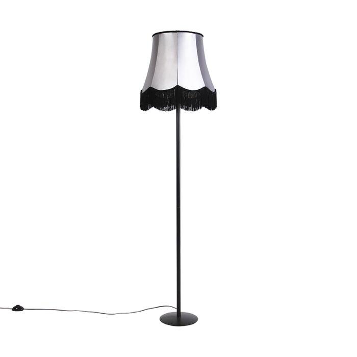 Lampada-da-terra-nera-paralume-Granny-nero-grigio-45-cm---SIMPLO-