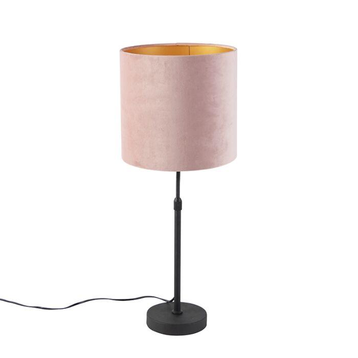Lampada Da Tavolo Nera Paralume Velluto Rosa Oro 25 Cm Parte Lampadaeluce